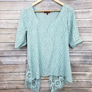 BKE Red Buckle Blue Sheer Textured Boho Lace Top